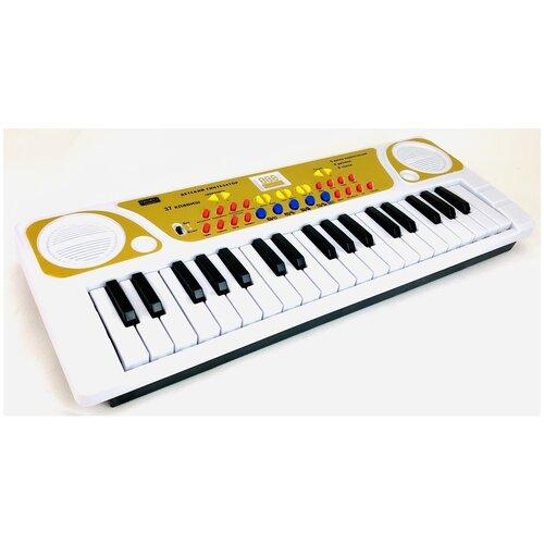 Детский музыкальный синтезатор ZYB-B3151-2 Zhorya, пианино 37 клавиш, запись, микрофон, 8 инструментов, 8 ритмов, регулятор громкости, контроль темпа, 40.5х15х4 см