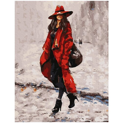 Фото - Картина по номерам с цветной схемой на холсте Molly арт.KK0667 Девушка в красном 30х40 см картина по номерам с цветной схемой на холсте 30х40 кот рокер 19 цветов kk0610