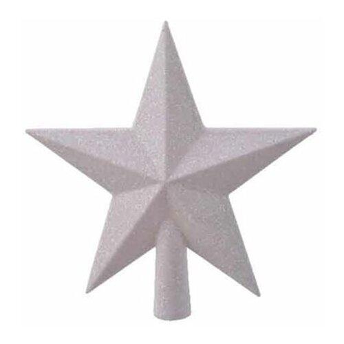 Елочная верхушка звезда делюкс, пластик, глиттер, цвет: белый радужный, 19 см, Kaemingk 029546