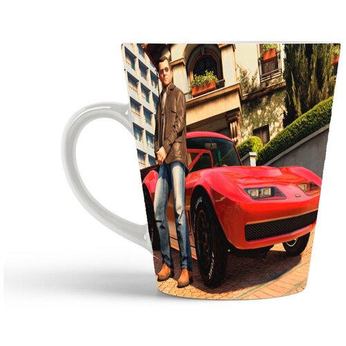 Кружка-латте CoolPodarok Гта Gta Grand theft Auto (мужчина на фоне красной машины)