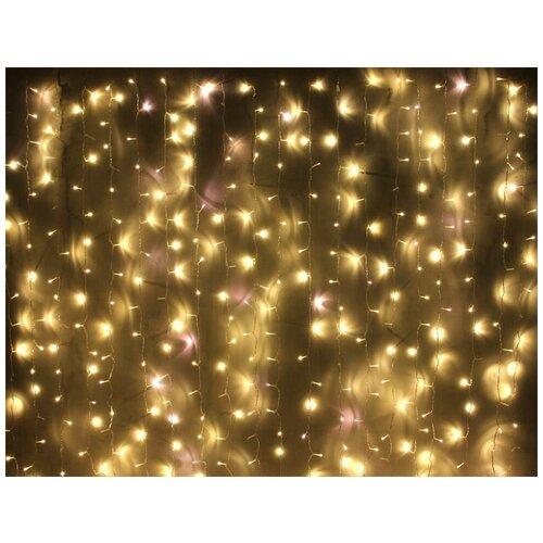 Занавес световой PLAY LIGHT мерцающий, 400 LED ламп, (320 статичных тёплых белых/80 мерцающих холодных белых LED ламп),