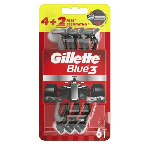 Купить Бритва одноразовая Gillette Blue 3 Red, 4 + 2 шт.
