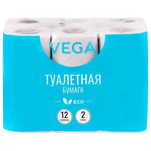 Купить Туалетная бумага VEGA белая двухслойная (315617) 12 рул.