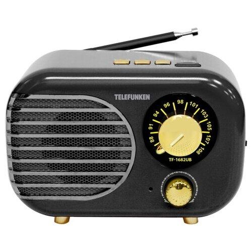 Радиоприемник настольный Telefunken TF-1682B, черный/золотистый, USB, microSD радиоприёмник telefunken tf 1682b черный золотистый