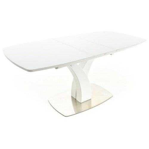 EVITA Стол обеденный раздвижной Нотр-Дам столешница стекло Opti цвет Белый опора белая/140(171,5)*85*76 см/Стол для гостиной/Стол для столовой/Стол для кухни/Дизайнерский стол