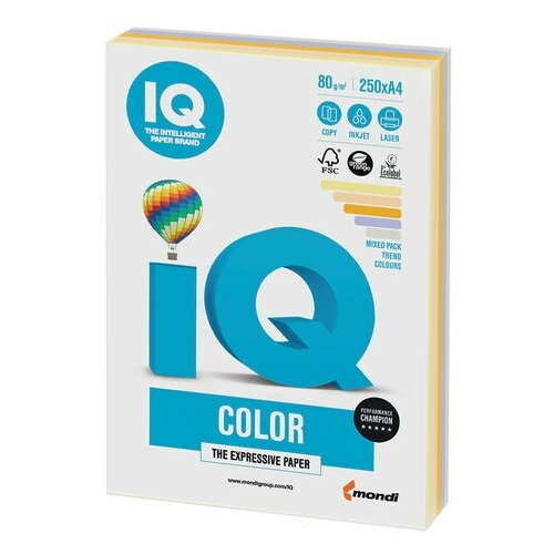 Фото - Бумага цветная IQ color, А4, 80 г/м2, 250 л., (5 цветов х 50 листов), микс тренд, RB03 бумага цветная iq color а4 160 г м2 100 л 5 цветов x 20 листов микс интенсив rb02