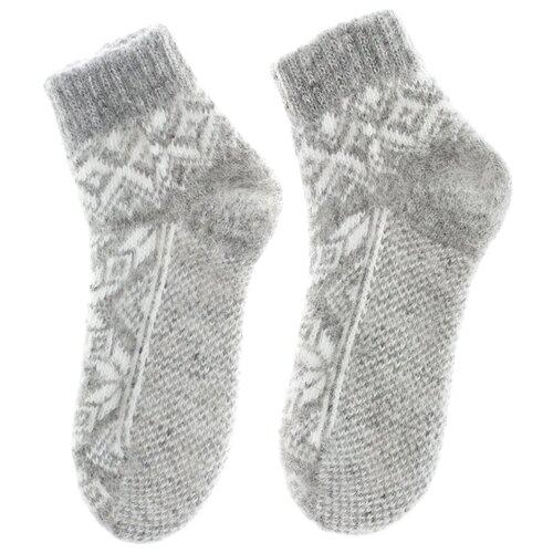 Носки из козьей шерсти, 100% шерсть козы, скандинавский орнамент снежинки, 38-39 размер