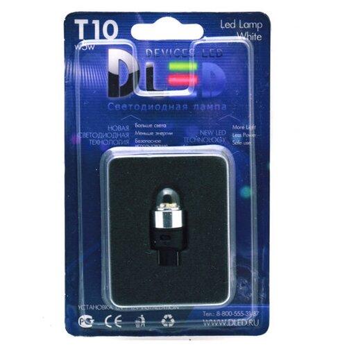 Светодиодная автомобильная лампа DLed T10 - W5W - 4 SMD3014 + Колба (1 шт-лампа.)