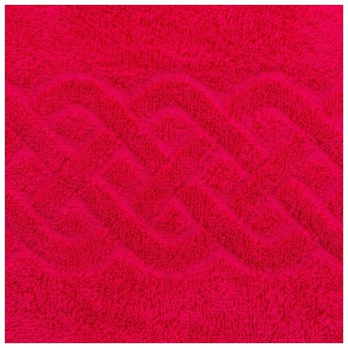 Полотенце махровое жаккард Plait, размер 70х130 см, цвет Малиновый