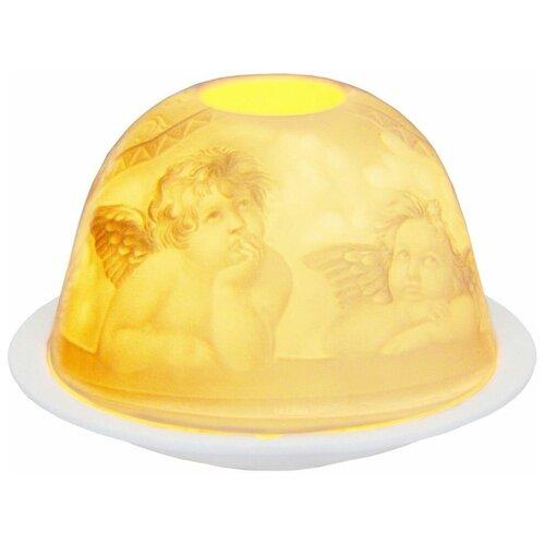 Подсвечник для чайной свечи ангелочки-мечтатели, фарфор, 8х12 см, SHISHI 39828