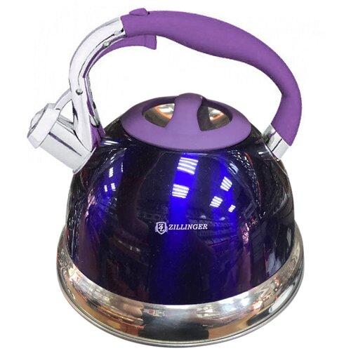 Чайник металлический со свистком ZILLINGER 2.7 л, синий / Универсальный чайник со свистком / Чайник для плиты / Чайник из нержавеющей стали / Чайник для газовой, индукционной плит со свистком