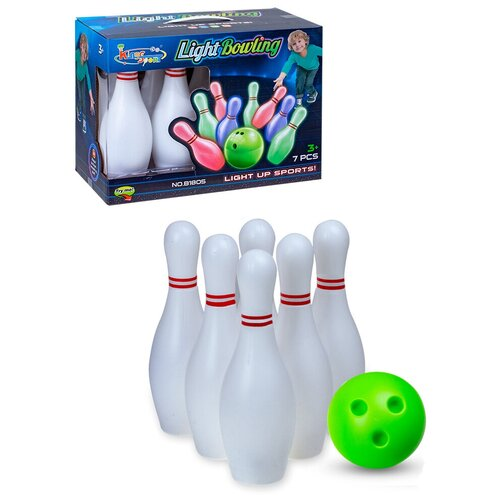 Набор Боулинг / Набор кегли с подсветкой с мячом / Боулинг для игр на улице и дома
