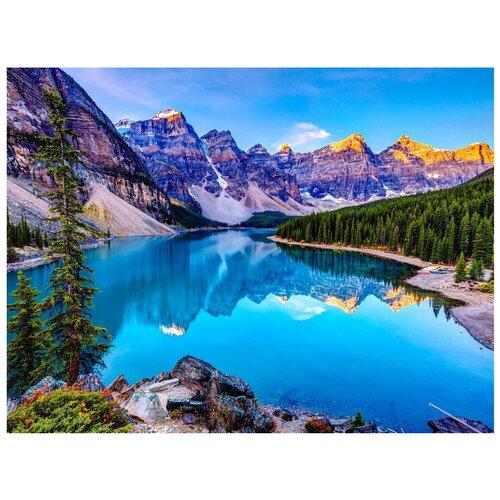 Фото - Картина по номерам с цветной схемой на холсте Molly арт.KK0604 Озеро в Канаде (19 цветов) 30х40 см картина по номерам с цветной схемой на холсте 30х40 кот рокер 19 цветов kk0610