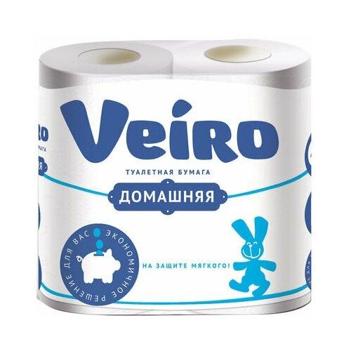 Бумага туалетная бытовая, спайка 4 шт., 2-х слойная (4х15 м), VEIRO Домашняя, белая, 1с24 бумага туалетная бытовая спайка 4 шт 3 х слойная 4х17 5 м veiro luxoria вейро белая 5с34 3 шт