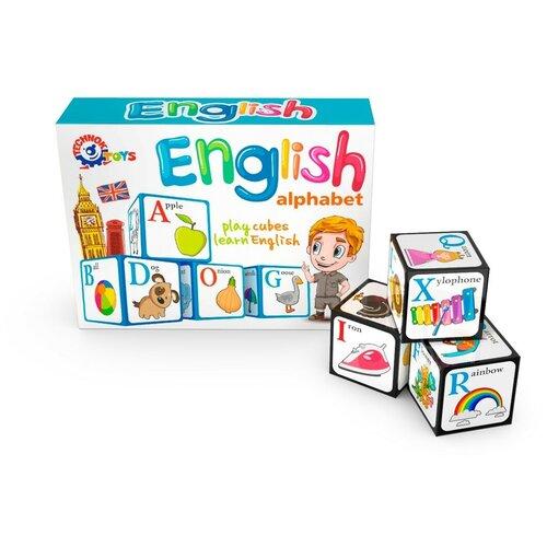 Кубики детские пластмассовые технок английская азбука / кубики для малышей / развивающие игрушки от 1 года / карточки развивающие / обучающие игры / алфавит