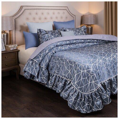 Комплект на кровать Santalino из покрывала и 2-х наволочек Модерн 250х230,50х70 2шт., серый, 100% Пэ (850-903-49)