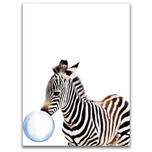 Картина на холсте LOFTime 30х40 зебра С пузырем из жевачки К-018-3040