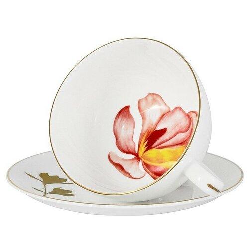 Фото - Чашка с блюдцем Magnolia 250 мл в подарочной упаковке, костяной фарфор, Anna Lafarg Emily, AL-703M-E11 салатник anna lafarg emily magnolia 14 см 750 мл