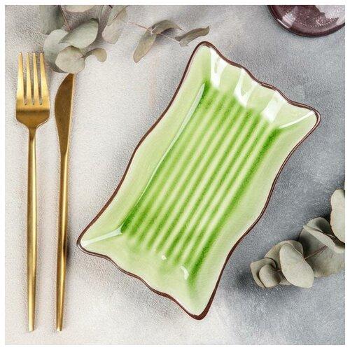 Блюдо сервировочное Таллула 19х11х3 см, цвет зеленый 5385605 блюдо сервировочное blanco 38 см