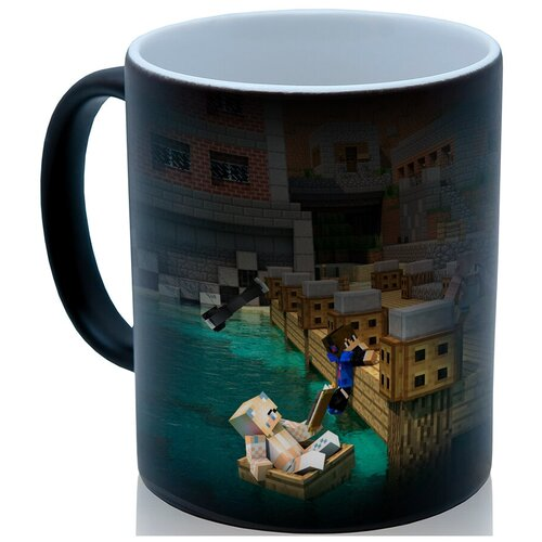 Кружка хамелеон По мотивам Майнкрафт (Minecraft) , остров, пляж коллаж, оригинальный подарок