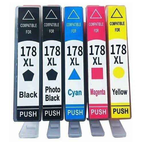 Фото - Комплект картриджей HP-178 XL/HP 178XL для принтера HP, 5 цветов (голубой, пурпурный, желтый, черный, фото черный), для струйного принтера, совместимый чернила краска для заправки принтера hp envy 6454 набор черный 250