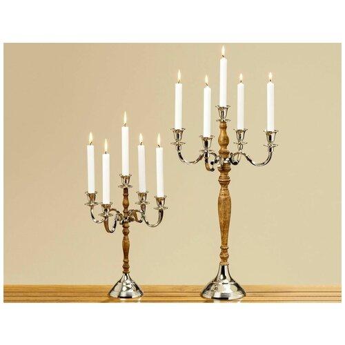 Фото - Подсвечник канделябр ВИКТАС на 5 свечей, алюминий, дерево, 64 см, Boltze 7101400 подсвечник boltze biba серебряный 11 см