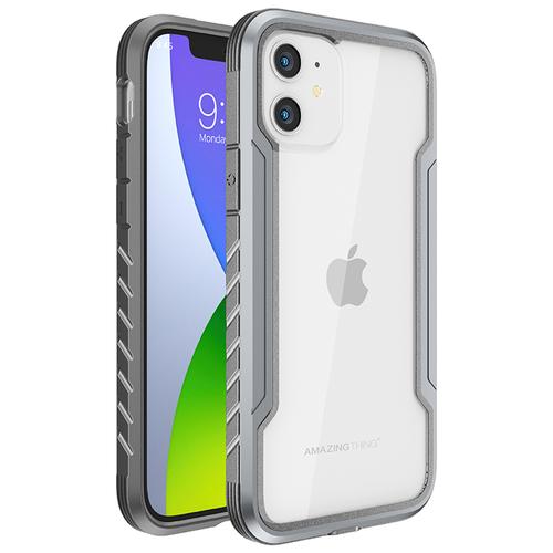 Чехол на для телефона Айфон 12 mini Amazingthing Military Drop-proof Clear Silver