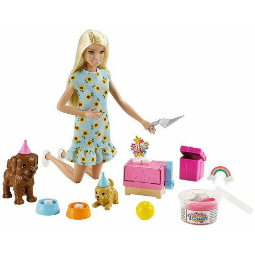 Игровой набор Barbie Вечеринка кукла+питомцы GXV75