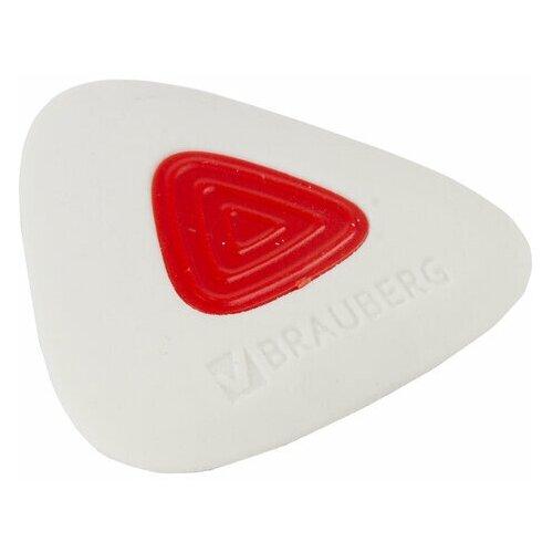 Ластик Brauberg Trios PRO (36х36х9мм, белый, треугольный, красный пластиковый держатель) 36шт. (229559), Ластики  - купить со скидкой