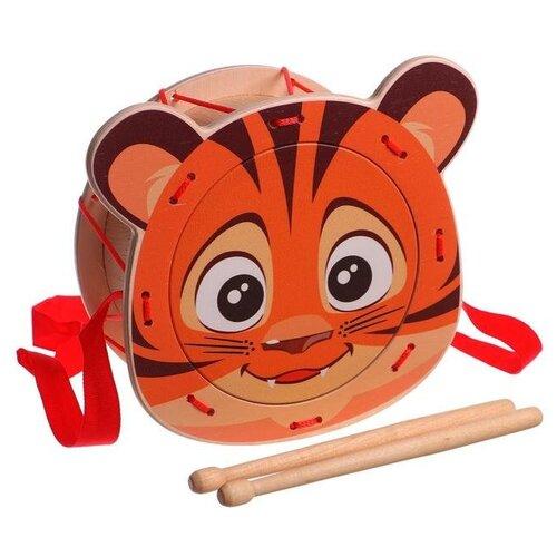 Купить Leader барабан Тигренок 11446 оранжевый, Детские музыкальные инструменты