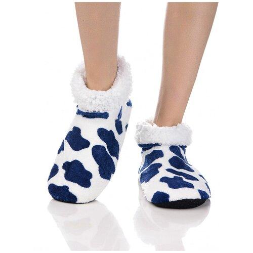 Плюшевые носки домашние, коровий принт, противоскользящая подошва, внутренний подклад из искусственного меха, белый-синий цвет, размер 35-37