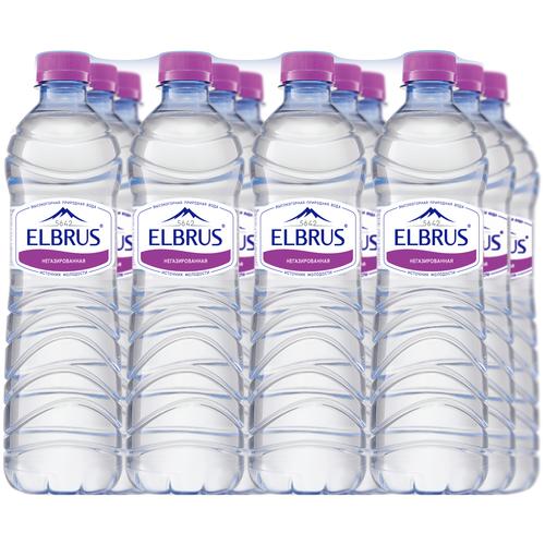 Вода минеральная Эльбрус негазированная, ПЭТ, 12 шт. по 0.5 л