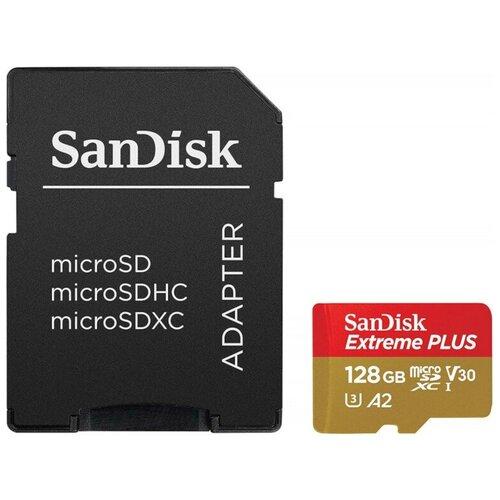 Фото - Карта памяти 128Gb - SanDisk Extreme Plus - Micro Secure Digital XC Rescue Pro Deluxe A2 C10 V30 UHS-I U3 SDSQXBZ-128G-GN6MA с переходником под SD (Оригинальная!) карта памяти 256gb sandisk extreme pro secure digital xc