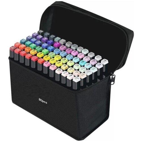 Двусторонние маркеры 80 штук / Маркеры для скетчинга / Фломастеры для скетчинга / Скетч маркеры 80 цветов, двусторонние, круглый и скошенный наконечник, спиртовые, в чёрном тканевом чехле на молнии
