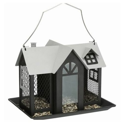 Кормушка уличная Villa, металл, 2 л/26 x 19 x 19 см, черный, Trixie (товары для животных, 55410)