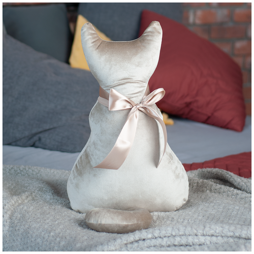 Подушка декоративная Кот Мур Вельвет Беж