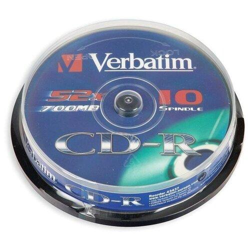 Фото - Оптический диск CD-R Verbatim 700Mb, 52x, cake box, 10шт. (43437) диск cd r verbatim 700 mb 52x cake box 50 dl full ink printable 50 200 43438