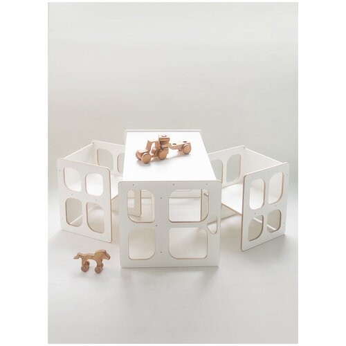 Детский стол скамья и два стула Монтессори трансформер, комплект детской мебели стол и два стула, белый