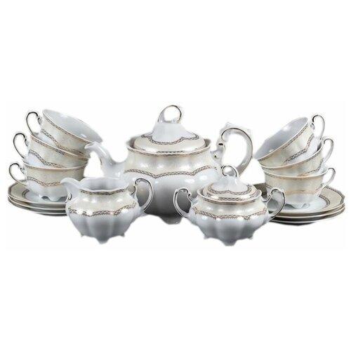 Чайный сервиз на 6 персон 15 предметов Cmielow Болеро /Элегантность (220 мл) / 132257 сервиз чайный фарфоровый на 6 персон 220 мл royal classics 14 предметов