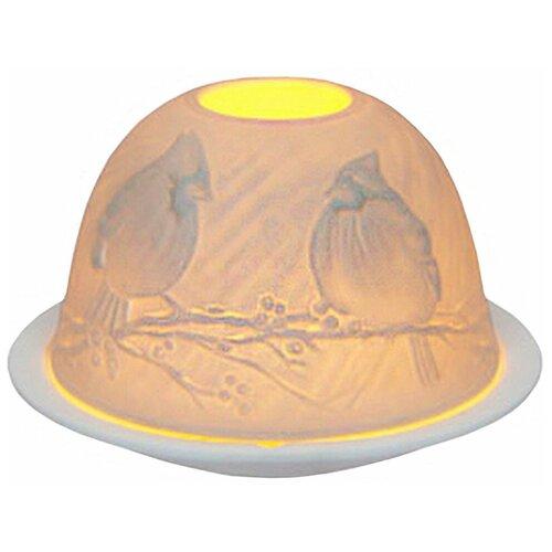 Подсвечник для чайной свечи кардиналы на веточке, фарфор, 8х12 см, SHISHI 27692