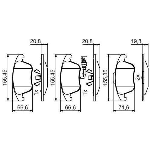 Дисковые тормозные колодки передние Bosch 0 986 495 464 для Audi, SEAT, Volkswagen (4 шт.) дисковые тормозные колодки передние bosch 0986494704 для skoda audi seat volkswagen 4 шт