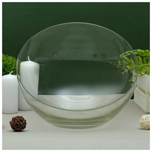 Фото - Ваза Анабель шаровая с косым резом d-25см; h-20см, ваза шаровая d 14см 22х19см 5л 1001570