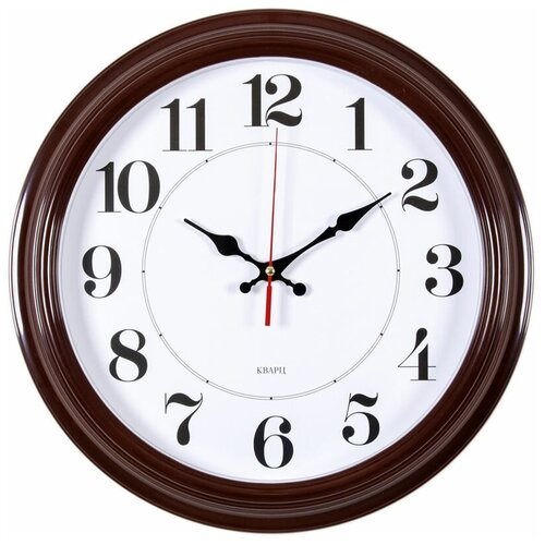 Часы настенные аналоговые Бюрократ WALLC-R85P, диаметр 35 см, коричневый/белый
