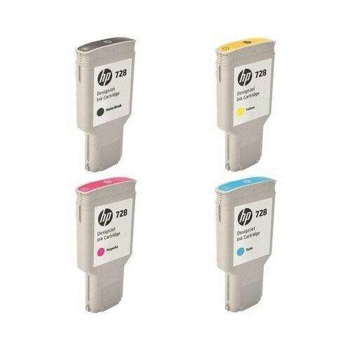 HP T730-T830-300ML-INK-PACK Картриджи комплектом 728-Pack полный набор 4 шт. MultiPack [выгода 1%] 1200 мл для DesignJet T730, T830 [F9K15A, F9J68A, F9K16A, F9K17A]