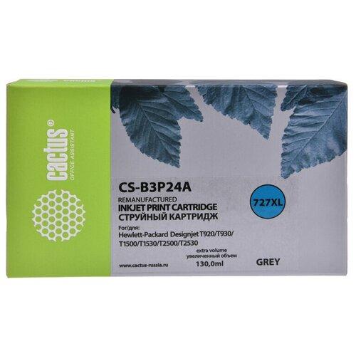 Фото - Картридж струйный Cactus №727 CS-B3P24A серый (130мл) для HP DJ T920/T1500/T2530 картридж струйный cactus 727 cs b3p20a пурпурный 130мл для hp dj t920 t1500 t2530
