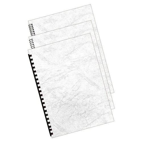 Обложки для переплета Bulros A4 250g 100шт тиснение под кожу White недорого