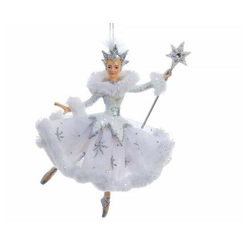 Фото - Ёлочная игрушка снежная королева балерина, полистоун, текстиль, 17.2 см, Kurts Adler ёлочная игрушка кошечка делфтский фарфор 10 см разные модели kurts adler j0936