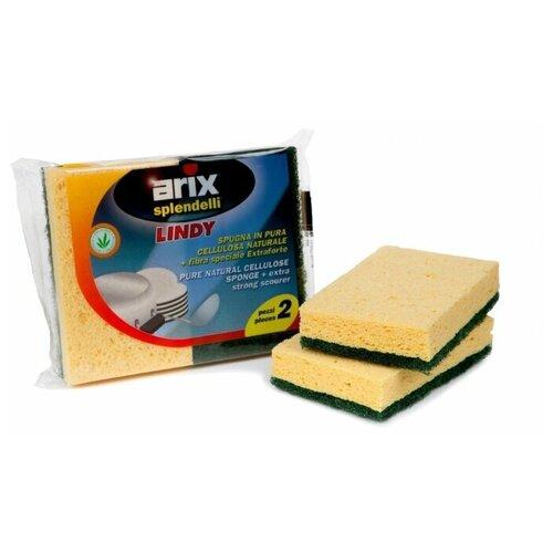 Губка для посуды Arix с фиброй целлюлозная 2 шт