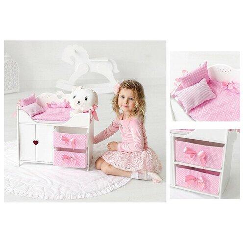Кровать для кукол с системой хранения, постельным бельем, мягкими корзинами, белая