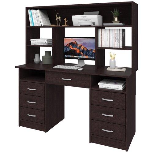Фото - Письменный стол СитиМебель двухтумбовый с 6 ящиками, дополнительным ящиком под столешницей и надстройкой, ШхГ: 140х50 см, цвет: венге цаво письменный стол ситимебель компактный шхг 140х50 см цвет венге цаво